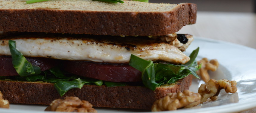 Turkey, Kale, Beetroot & Walnut Protein Sandwich